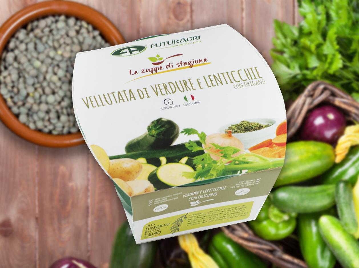 Zuppe di stagione Futuragri - Vellutata di verdure e lenticchie con origano