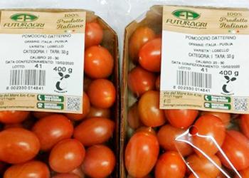 Etichetta compostabile sulla linea dei pomodori Futuragri