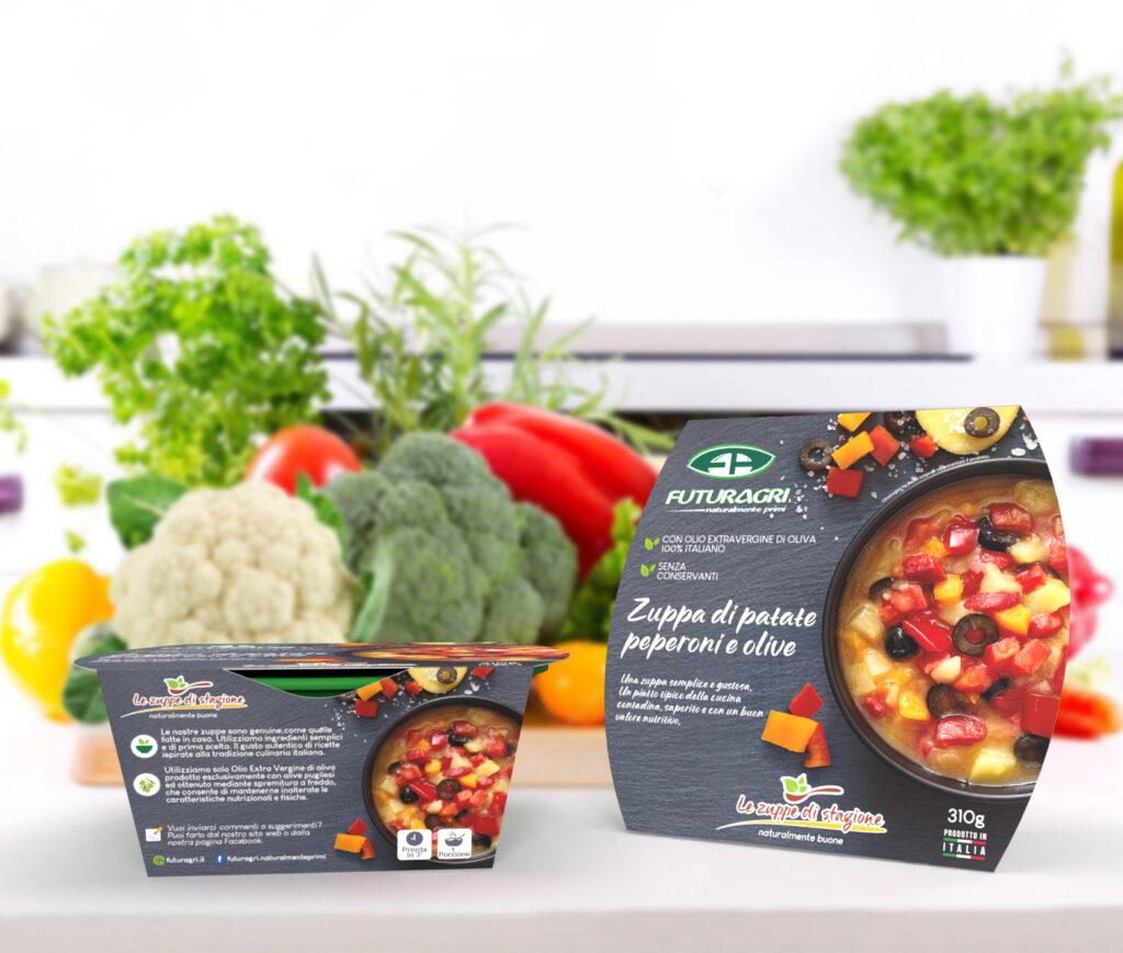 Zuppa di patate, peperoni e olive